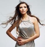 Fashion model  on white. Female portrait Stock Photos