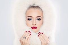 Fashion Model in White Fur Royalty Free Stock Image