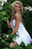 Fashion Model In White Summer Dress Royalty Free Stock Photography