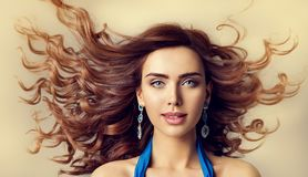 Fashion Model Wind Waving Hair, Woman Beauty Hairstyle Portrait. Fashion Model Wind in Waving Hair, Woman Beauty Portrait and Curly Hairstyle, Beautiful Girl royalty free stock photography