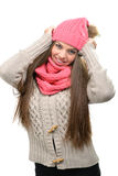 Fashion model - winter clothes, hats, scarves, in indoor.  Royalty Free Stock Photography