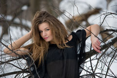 Fashion model in winter forest Stock Photos