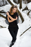 Fashion model  in winter wood Royalty Free Stock Images