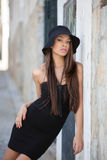 Fashion model woman in black dress Royalty Free Stock Photography