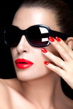 Fashion Model Woman in Black Oversized Sunglasses. Bright Makeup Royalty Free Stock Photos