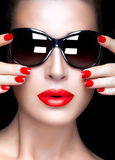 Fashion Model Woman in Black Oversized Sunglasses. Bright Makeup Royalty Free Stock Images
