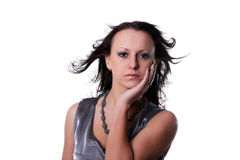 Fashion model woman with blown hairs Stock Images