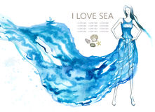 Fashion model woman with blue sea dress. Abstract Stock Image