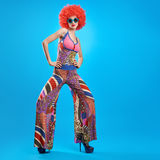 Fashion Model woman, colorful Glamor Outfit,Makeup Royalty Free Stock Photography