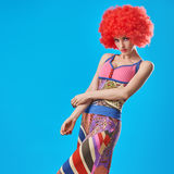 Fashion Model woman, colorful Glamor Party Outfit Stock Images