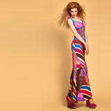 Fashion Model woman, colorful Summer Outfit,Makeup Royalty Free Stock Images
