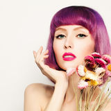 Fashion Model Woman with Coloring Hair and Flower Stock Images