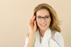 Fashion model woman with eyeglasses Stock Images