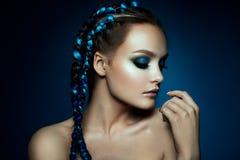 Fantasy Girl. Mermaid. Fashion model Woman with fantasy brows. Long blowing brown hair. Fantasy Girl. Mermaid stock images