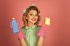 Fashion model woman fece close up. Face woman wiht happy emotion. Cleaning, retro style, purity. Cleanup, cleaning services, wife, gender. Housekeeper in Royalty Free Stock Images