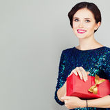 Fashion Model Woman with Gift Royalty Free Stock Photos