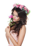 Fashion Model Woman Holding a Flower Stock Photos