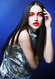 Fashion model woman with red make up Stock Photography