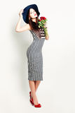 Fashion Model Woman with Roses. Fashion Model Woman with Red Roses stock photography