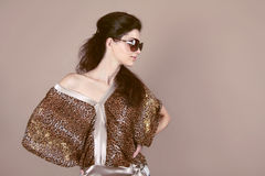 Fashion model woman with sun glasses Royalty Free Stock Photography