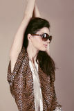 Fashion model woman in sun glasses, Vogue girl Royalty Free Stock Photos