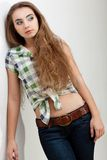 Fashion model woman wearing country style clothes Stock Photography