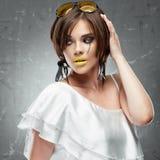 Fashion model woman, yellow sunglasses Royalty Free Stock Image