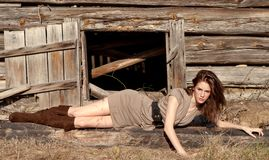 Fashion Model By Wooden Shack Stock Images