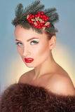 Fashion model with wreath on head and healthy skin looking at ca Royalty Free Stock Photos