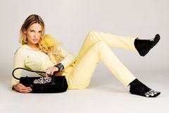 Fashion model in yellow Stock Images