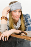 Fashion model - young woman country style Royalty Free Stock Image