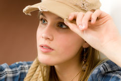 Fashion model - young woman country style Stock Image