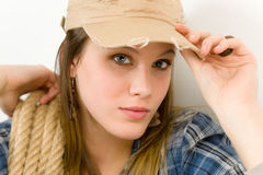 Fashion model - young woman country style Stock Photos