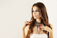 Fashion Model. Young Woman with Makeup Stock Images