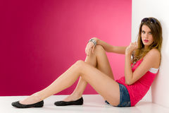 Fashion model - young woman in pink Royalty Free Stock Photography