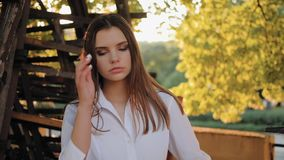 Fashion modeling confident girl posing nature park stock footage