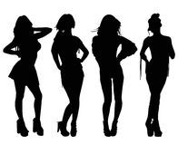 Fashion Models. Four fashion models , sexy position, Vector silhouette Royalty Free Stock Image