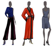Fashion Models. 3 abstract fashion models with shinny clothes Royalty Free Stock Photography