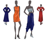 Fashion Models. 4 abstract fashion models with shinny clothes Stock Photo
