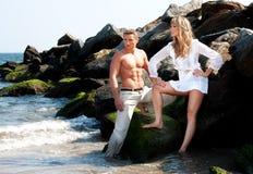 Fashion models at beach Royalty Free Stock Photos