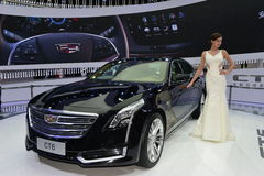 A Fashion Model on Cadillac CT6 saloon car Stock Photo