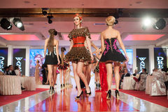 Fashion models on catwalk Royalty Free Stock Image