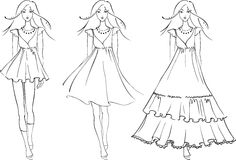 Fashion models in dresses. Sketch of fashion women in graphic style Royalty Free Stock Photos