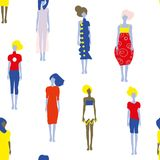 Fashion models in dresses seamless pattern, graphic illustration. Fashion models in dresses seamless pattern,  graphic illustration in bright colors Royalty Free Stock Image