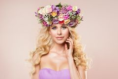 Fashion Models Flowers Wreath Beauty Portrait, Woman Nude Makeup with Rose Flower in Hairstyle, Beautiful Girl. Studio shot over pink background royalty free stock image