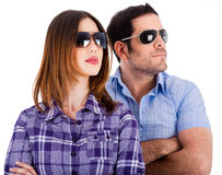 Fashion models looking left with sunglasses Stock Photos