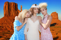 Fashion Models Posing in a National Park Royalty Free Stock Photography