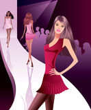 Fashion models represent new clothes Royalty Free Stock Photos