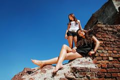 Fashion models at the ruin. Royalty Free Stock Photography