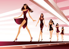 Fashion models on runway Stock Photography